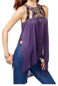 Free People Embellished Asymetrical Hi-low Beaded Boho Top DUSK