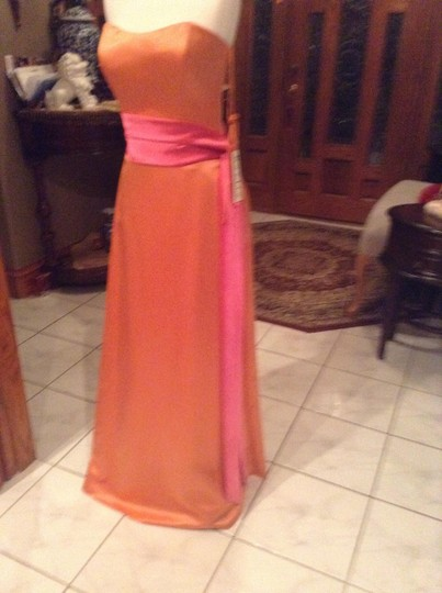 Raylia Designs Sunset/ Hot Pink Satin 8300z Formal Bridesmaid/Mob Dress Size 12 (L)