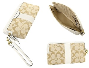 Coach COACH Signature Stripe Double Zip Wallet Khaki and Ivory w/ Wristlet band