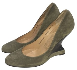Salvatore Ferragamo Olive Wedges