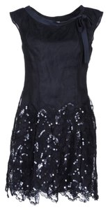 Philosophy di Alberta Ferretti Sequin Skirt Navy Dress