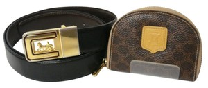 Céline [Authentic] CELINE Leather PVC Macadam Beige Coin Case Belt 2 set