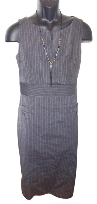 H&M Womens Misses Career Office Work Executive Fully Lined Lined Sleeveless Back Zipper Pockets V-neck Round Neck Dress