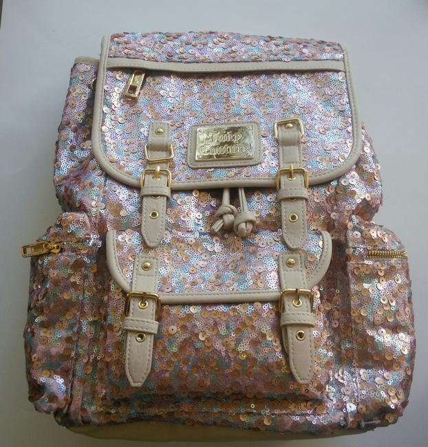 Item - Rhinestone Multi-color Faux Leather Sequins Backpack