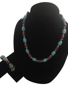 Genuine Turquoise and Red Semi-Precious Stone Necklace and Matching Bracelet Set
