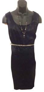 R & M Richards R&m Navy 16w Womens Back Hem Slit Silk-like Above Knee On Town Work Cocktail Back Zipper Add A Belt Or Wear Soft Dress