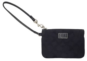 Coach Wallet Wallet Signature Canvas Wristlet in Black Leather Black Fabric