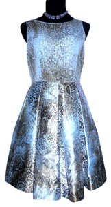 Taylor A Line Full Skirt Snakeskin Print Pockets Sheer Neckline Dress