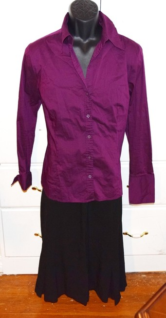 H&M Long Sleeve Career Social Size 16 Blouse Shirt Dress Button Down Shirt Purple Plum