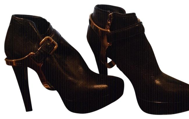 Item - Black with Gold Metal Boots/Booties Size US 6 Narrow (Aa, N)