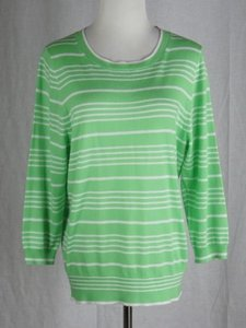 J.Crew Pencil Stripe Cashmere Crewneck White Sweater