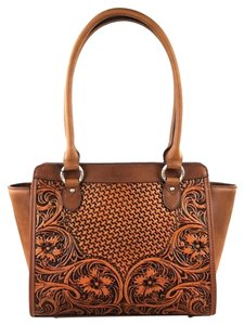 Montana West Genuine Leather Tooled Satchel in Brown