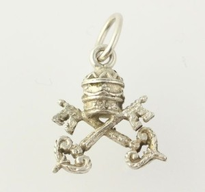 Crown Keys Charm - Sterling Silver Womens Tested Polished Fine Estate Royalty