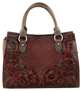 Montana West Genuine Leather Tooled Satchel in Coffee