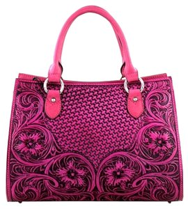 Montana West Genuine Leather Tooled Satchel in Hot Pink