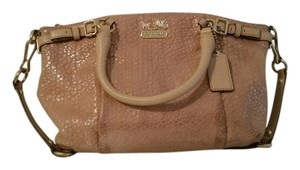Coach Embossed Metallic Satchel in Nude