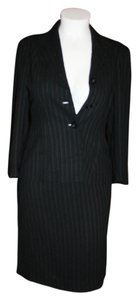 Halston Halston Skirt Suit Black Striped Size 10