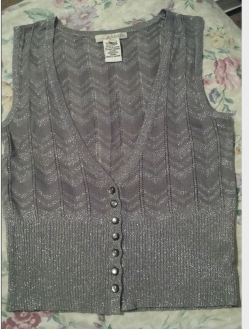 Kensie Vest Metallic Knit Cardigan