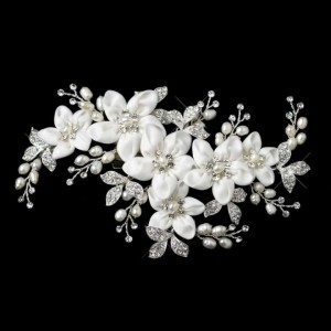 Elegance by Carbonneau Ivory/Silver Freshwater Pearl Flower Clip Hair Accessory