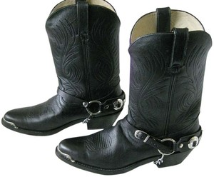 Durango Leather Western 9.5 Black & Silver Boots
