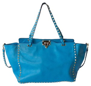 Valentino Rockstud Medium Calfskin Tote in Aquamarine Blue