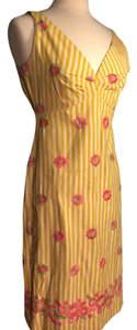 Tocca short dress Yellow, white stripes, pink flowers on Tradesy