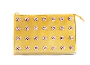 Tory Burch Tory Burch Spiked Flower Tall Cosmetic Case Bag Gold Shimmer Pink 41139283