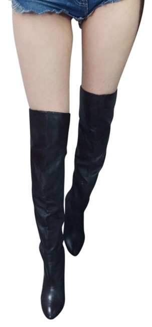 Guess Dark Brown Over Knee Leather Boots/Booties Size US 7 Regular (M, B) Image 1