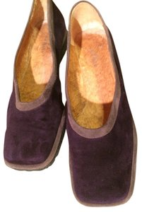 Audley London 9 Suede Rubber Soles Purple & Tan Flats