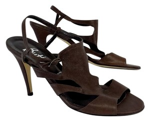 Butter Brown Textured Leather Heels Sandals