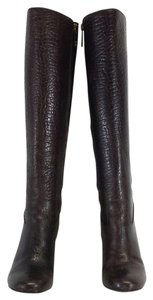 Tory Burch Brown Croc Leather Wedge Boots