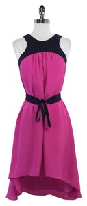 Leifsdottir Montcada Navy Fuchsia High Low Dress