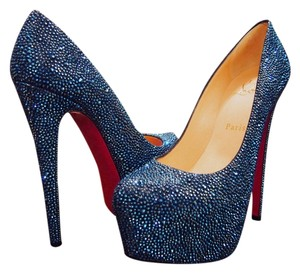 Christian Louboutin Daffodil Strass Pumps Crystals Sapphire Blue Platforms