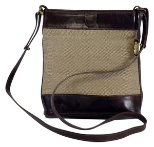 Brahmin Tan Canvas Brown Leather Cross Body Bag
