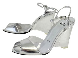 Stuart Weitzman Silver Leather Lucite Wedges