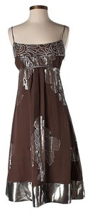 Nicole Miller Silk Metallic Floral Prom Dress