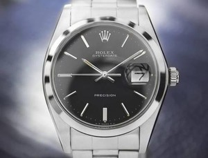 Rolex Mens Classic Vintage Rolex Oysterdate Precision 6694 Black Dial Watch Dn169