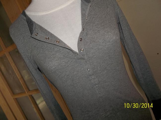 Social Occasions by Mon Cheri Long Sleeve Snap Knit Large T Shirt Gray