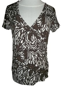 Charter Club Cap Sleeve Low Vee Neck Small Wrap Design Top Brown and White