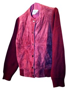 Axiom Burgundy Maroon Suede Snaps Oxblood Jacket