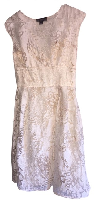 Item - Ivory Floral Burn Out A-line Knee Length Short Casual Dress Size 4 (S)