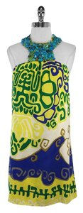 Tibi short dress Yellow Blue Print Silk Halter Beaded on Tradesy