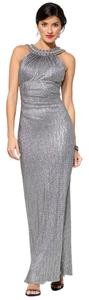 Cache Studded Gemstone Gown Silver Dress