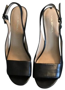Via Spiga Black with silver hardware Wedges