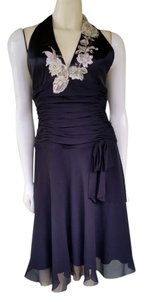 Adrianna Papell Silk Halter Embroidered Lace Beaded Dress