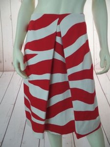 Doncaster Stripe Spandex Stretch Straight Chic Skirt Red, White