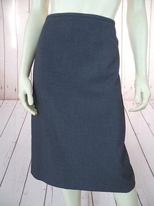 Calvin Klein Poly Rayon Spandex Straight Style Back Zip Slit Chic Skirt Gray