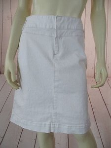 Tommy Hilfiger Spandex Stretch Denim Zip Front Straight Hot Skirt White