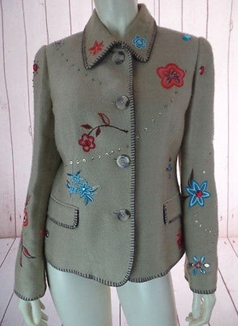 Item - Blazer Tan Acrylic Textured Floral Embroidered Jewels Boho