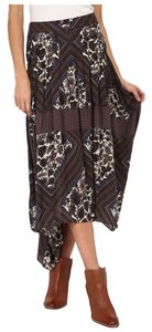 Free People Rayon Print Pleated Midi Skirt Brown